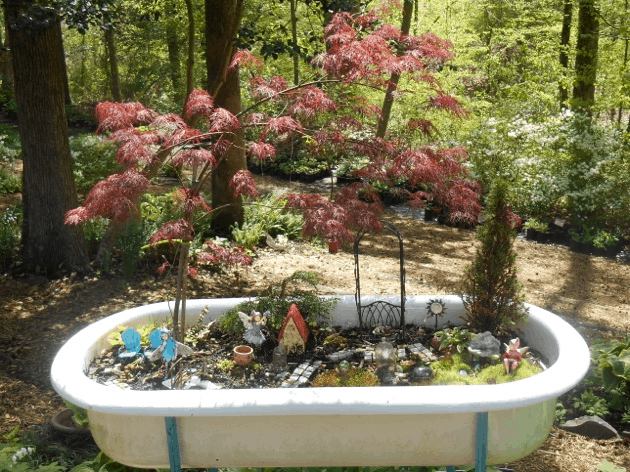 bathtub fairy garden