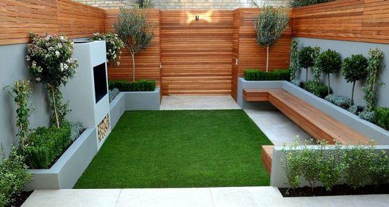 wooden closed backyard with wood walls and benches