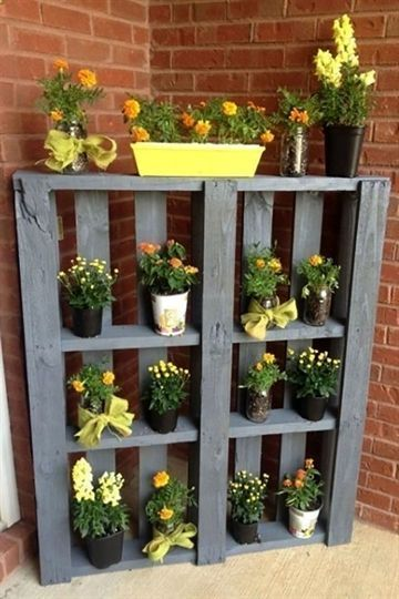 wood planter with plants