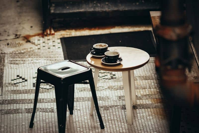A mini table setup outdoors for a quick morning coffee