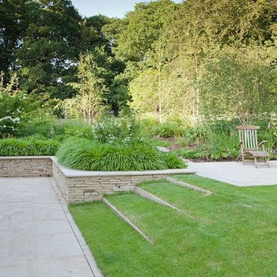 Grass-covered garden steps