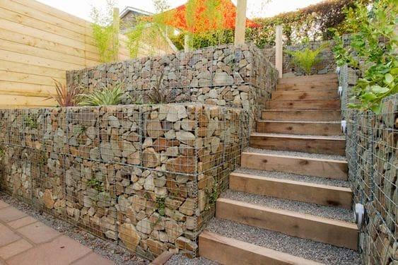 Gabion stone planters and modern steps
