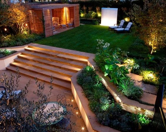 Modern lighting attached on the floor and wall, steps and garden edges