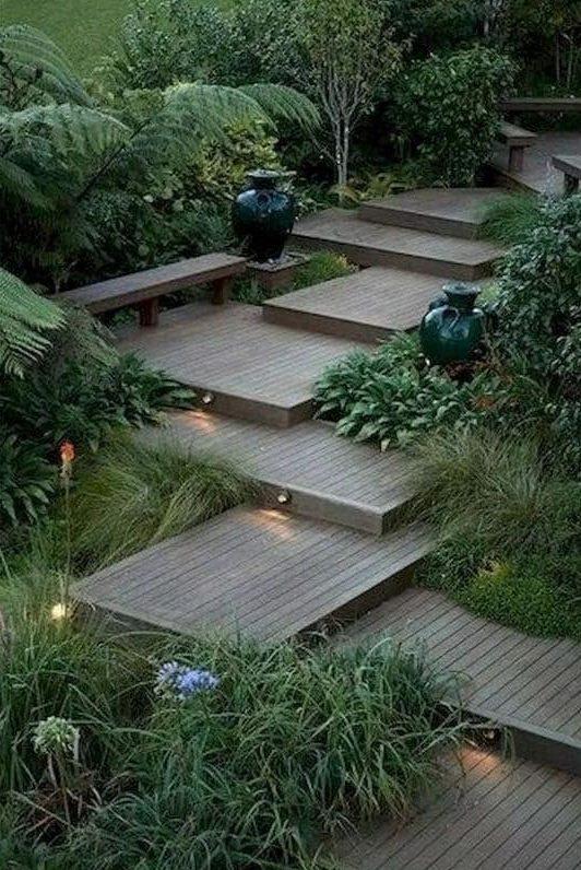 A multi-level deck, creating unique steps