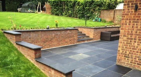 Slates paving stones in colour black