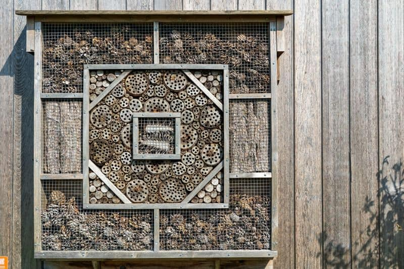 insect hotel against a wooden structure with square sections and pattern