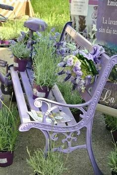 white and purple bench with flower pots on it
