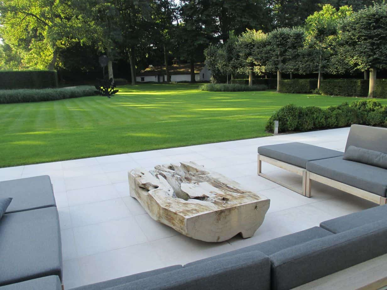 Open modern garden with comfy seating area perfect for relaxation