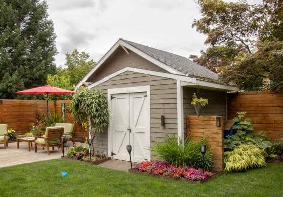 A corner tool shed for extra storage room