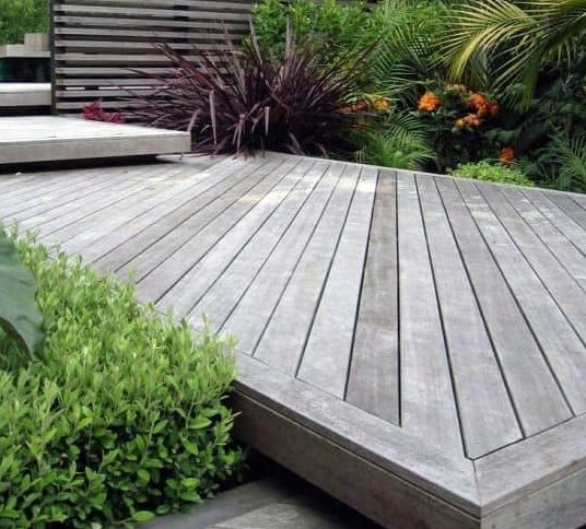 A garden space with modern decks