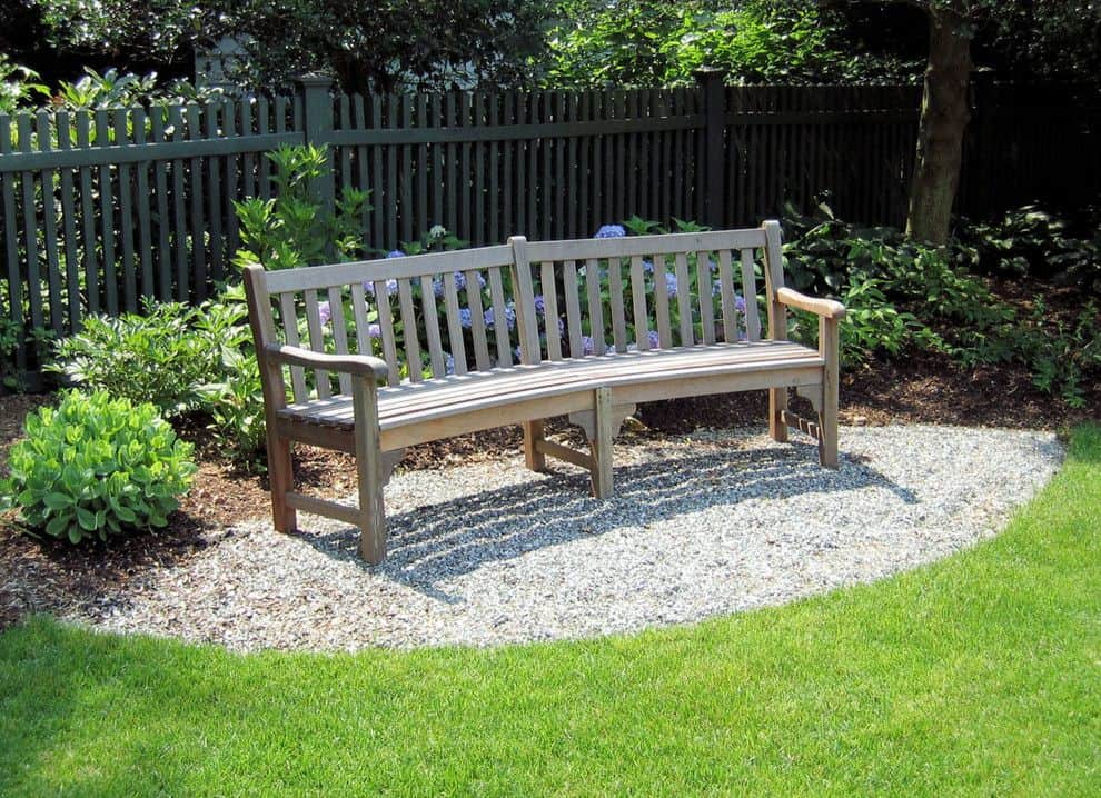 Wood benches and gravel combination