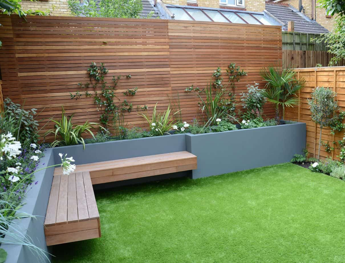 Timber benches on garden bed