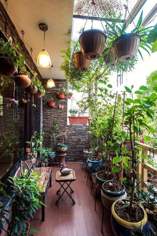 Balcony decorated with a variety of plants