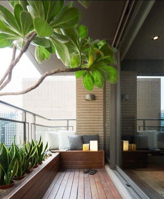 Stylish deck and garden bed