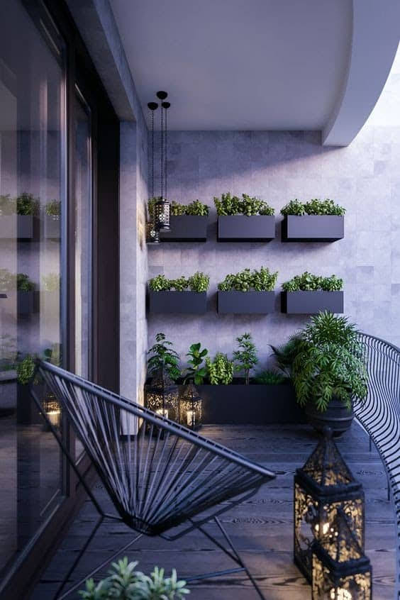 Modern looking balcony with lanterns