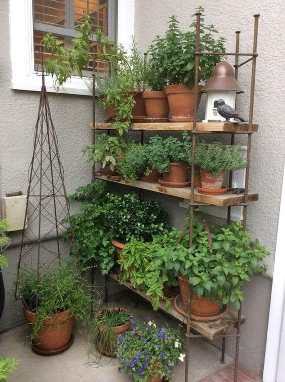 Pot shelves for small spaces