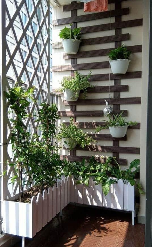 Modern stylish balcony corner