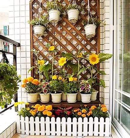 Balcony with bright flowers