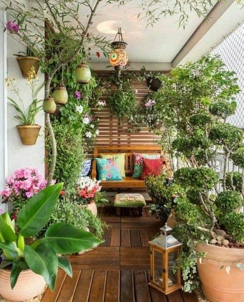 Tropical garden oasis creating a relaxing balcony retreat