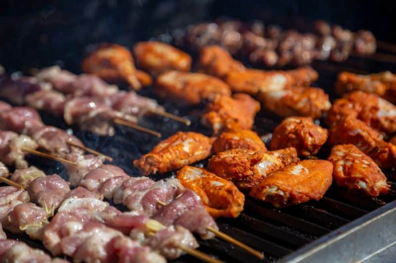 A variety of kebabs and skewers on the grill