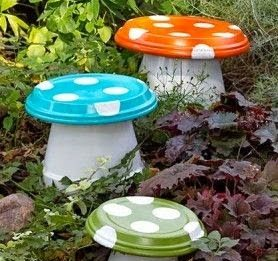 DIY toad-inspired garden stools