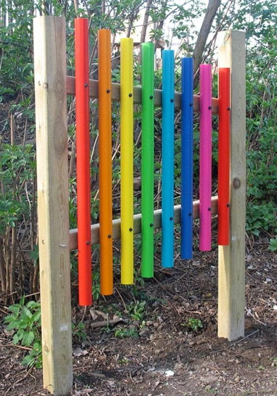 Colourful xylophone wall