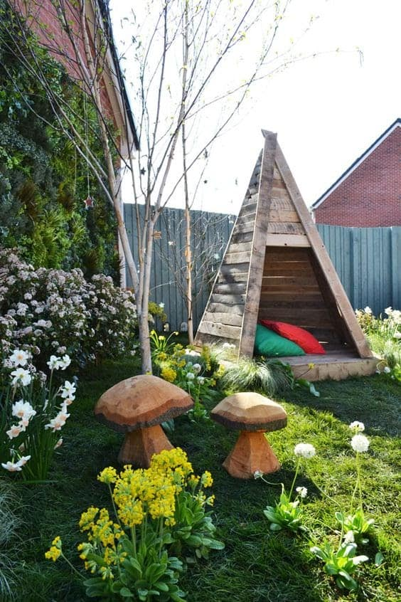 Wooden teepee for stargazing and backyard camping