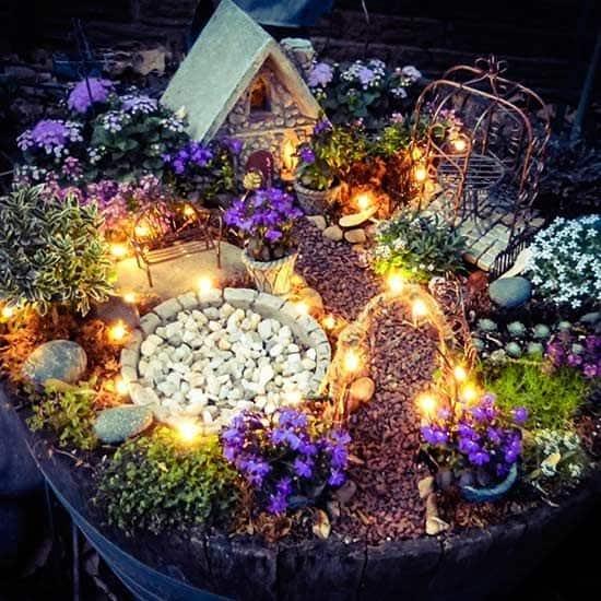 Lightened fairy garden