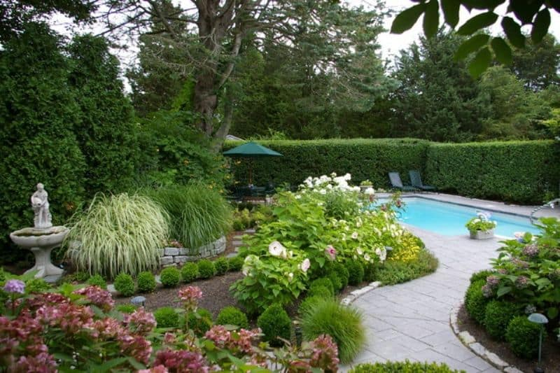 garden pool with hedges and flower beds