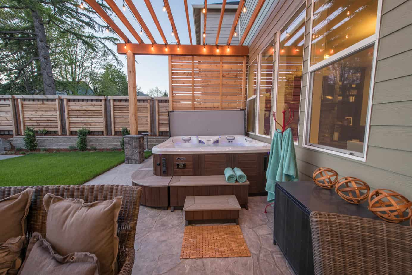 A garden hot tub with privacy