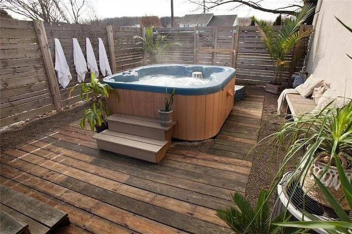 Acacia hardwood material for this hot tub deck concept