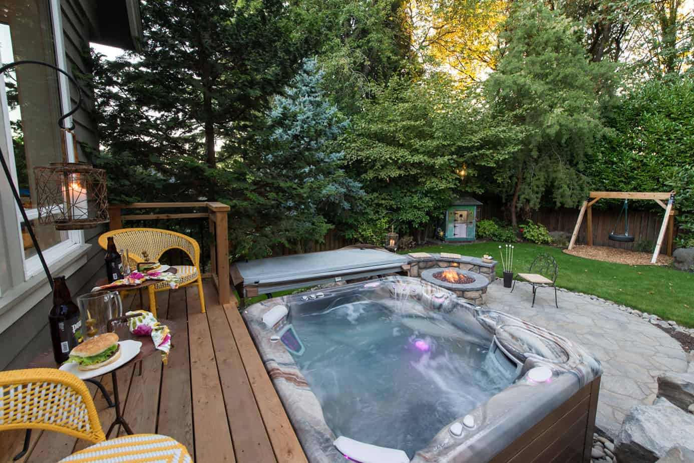 A hot tub deck concept with a touch of nature