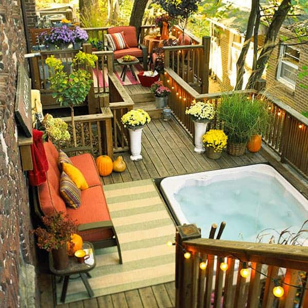 A multifaceted hot tub deck