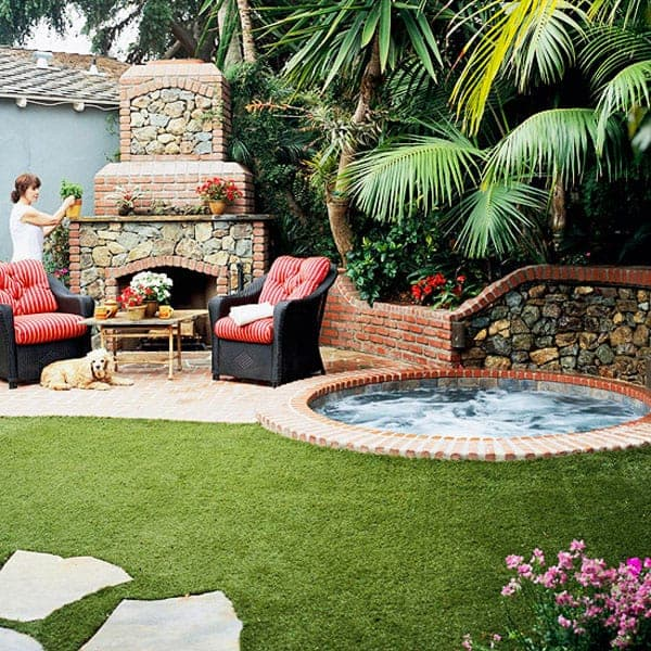 Brick patio and mortared pavers concept for a hot tub garden