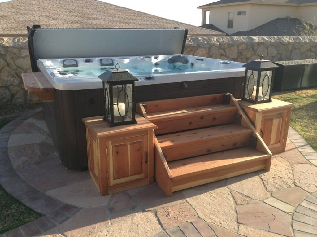 Elevated three steps concept hot tub deck