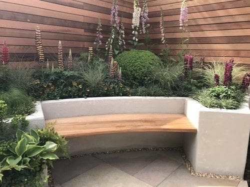 Raised garden bed with bench
