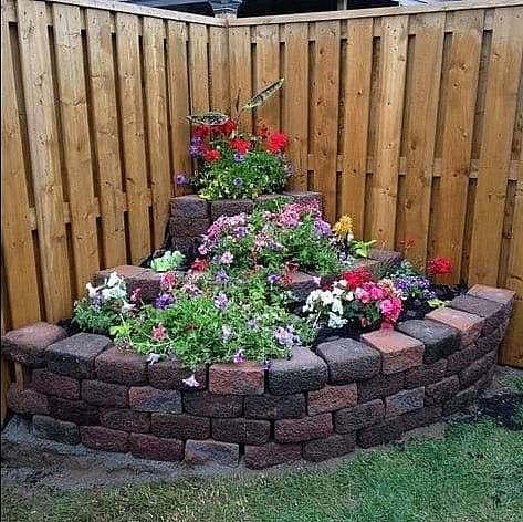 Flowers and bricks