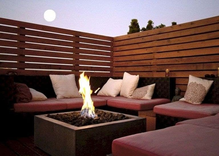 Private wooden deck with fire pit