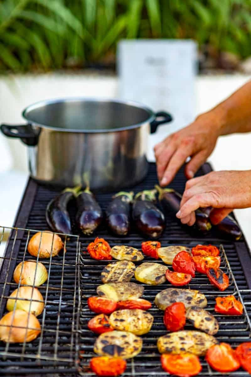 Veggies on the grill with combination heat