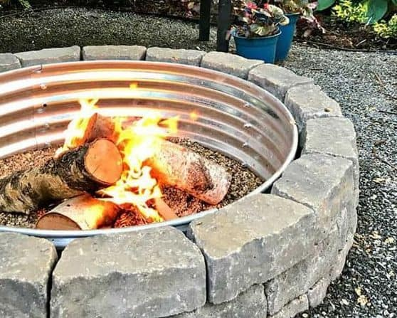 DIY stone and steel fire pit
