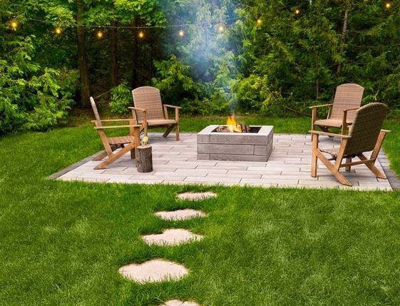 A fire pit island with stepping stones