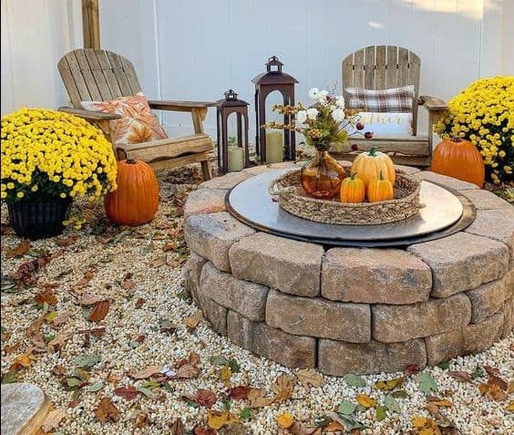 A stone fire pit with lid