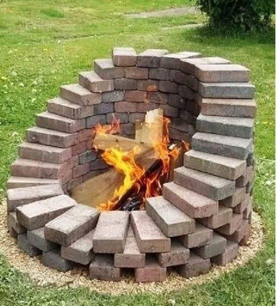 DIY stacked bricks fire pit