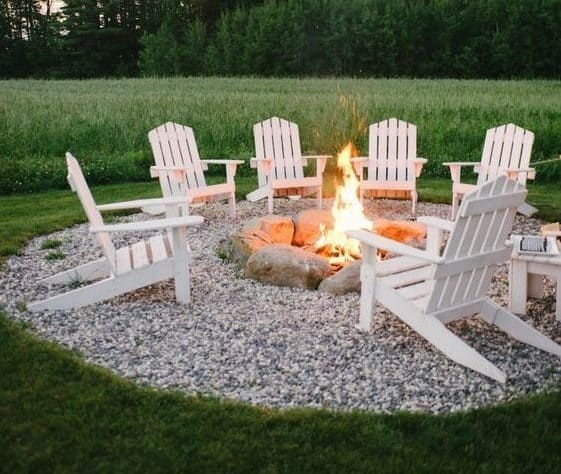 Pebble island with a fire pit made from stones