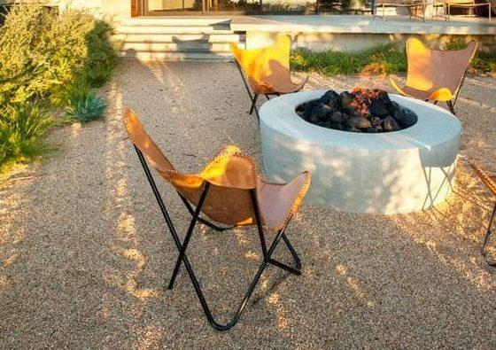 Simple concrete fire pit area