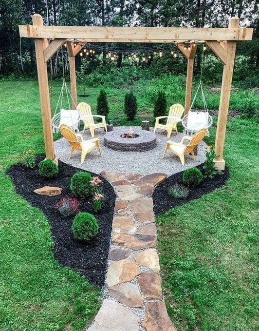 Fire pit island with pergola
