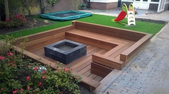 Fire pit in wooden deck