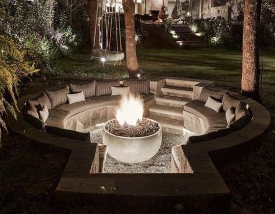 Stunning fire pit with lights