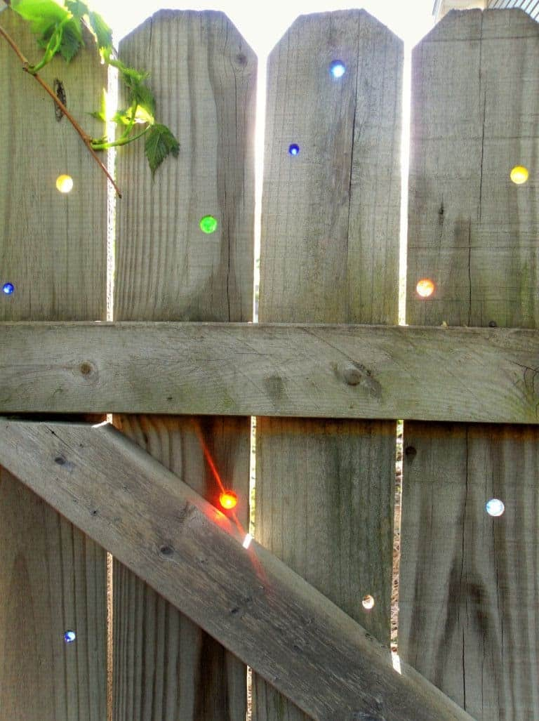 Coloured glass in wooden gate