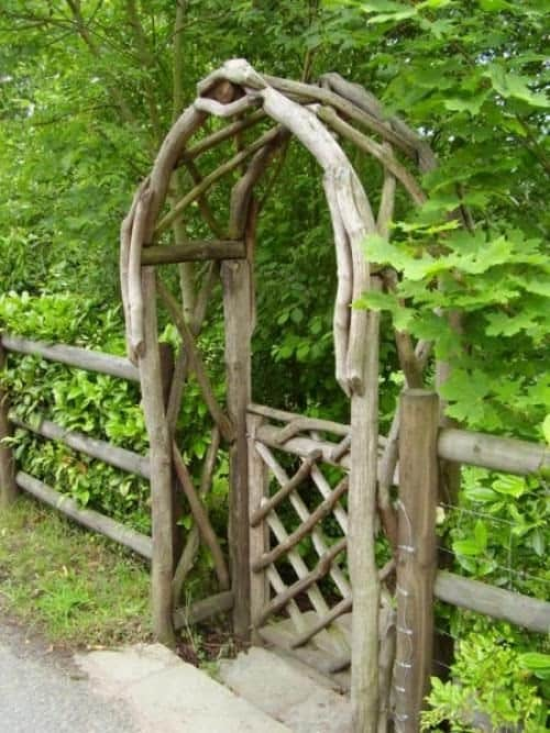 Re-arranged logs DIY garden gate